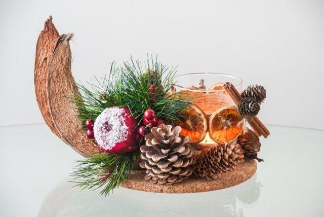 Centros de mesa navidenos con frutas secas