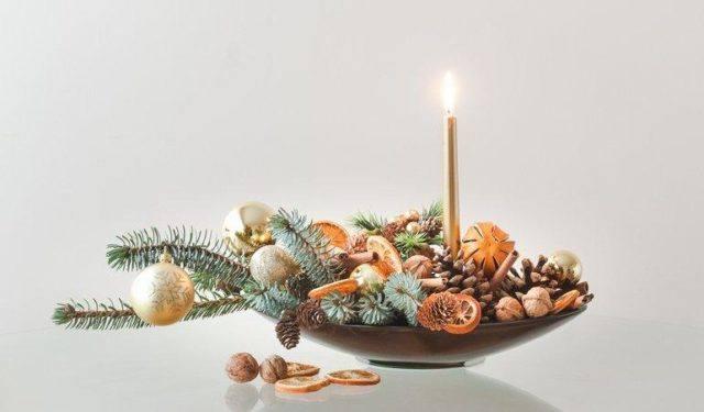 Centros de mesa navidenos con velas frutas secas colorido y facil