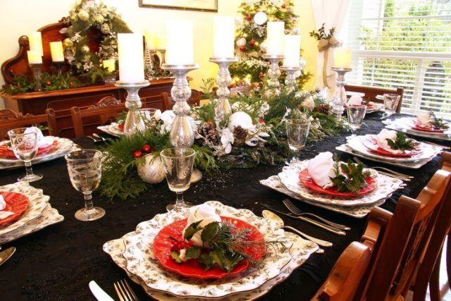 Centros de mesa navidenos para mesas muy largas