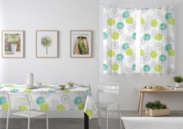 cortinas de cocina con limones de colores - Cortinas Cocina Moderna