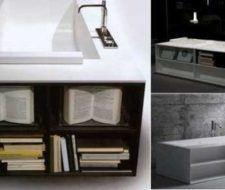 Bañera con biblioteca incluída, para los amantes de la lectura