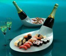 Bandeja de lujo con champagne