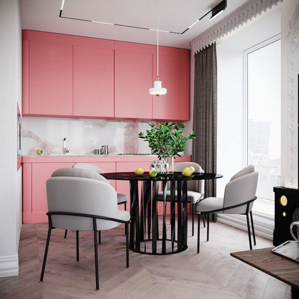 Cocinas rosas diseño de cocina rosa con blanco