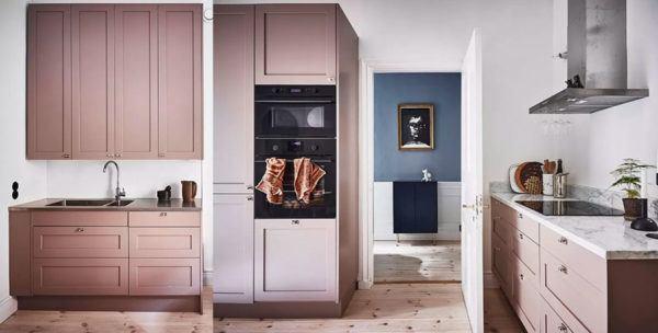 Cocinas rosas diseño de cocina rosa con muebles de madera