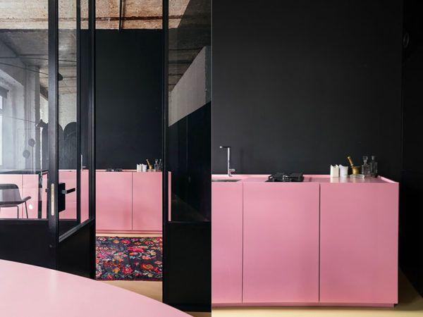 Cocinas rosas diseño de cocina rosa negra