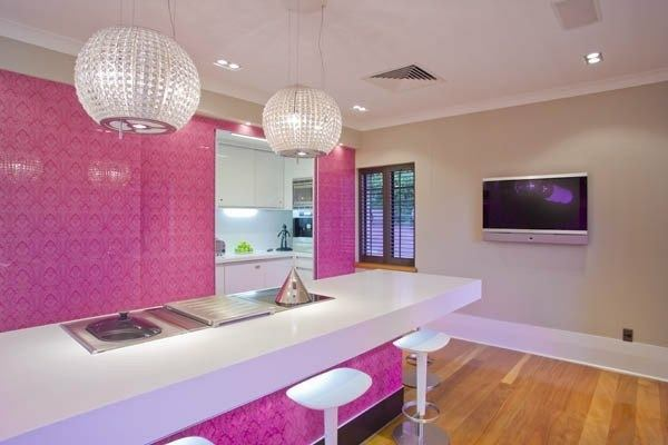 Cocinas rosas diseño de cocina rosa paredes rosas