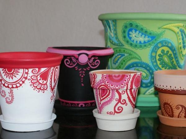 Macetas decoradas ideas originales hechas a mano - Como decorar macetas ...