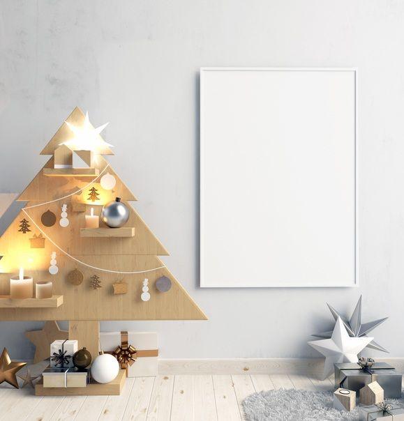 Arboles de navidad modernos diferentes y originales de madera con baldas
