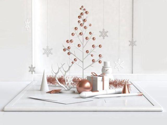 Arboles de navidad modernos diferentes y originales mini arbol de ramas con bolas