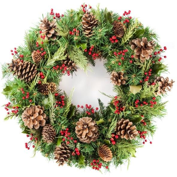 Coronas de navidad originales con pinas secas