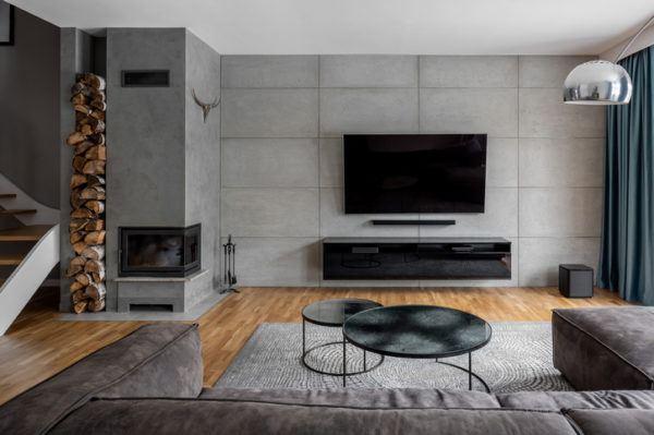 Salones modernos con chimenea 2021 esquinera