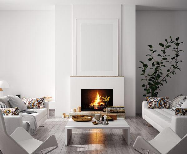 Salones modernos con chimenea 2021