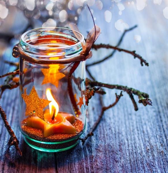 Tarros de cristal decorados con velas