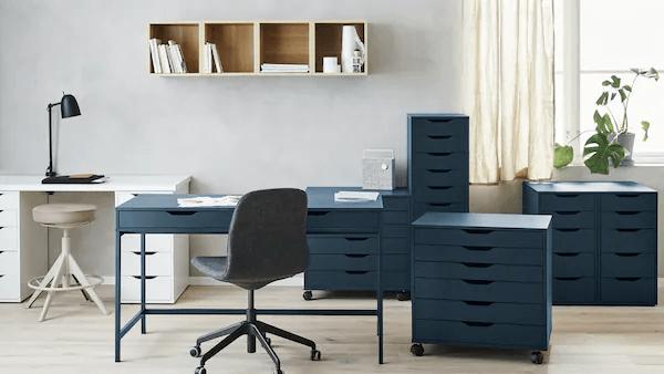 Decoracion oficinas oficina azul ikea