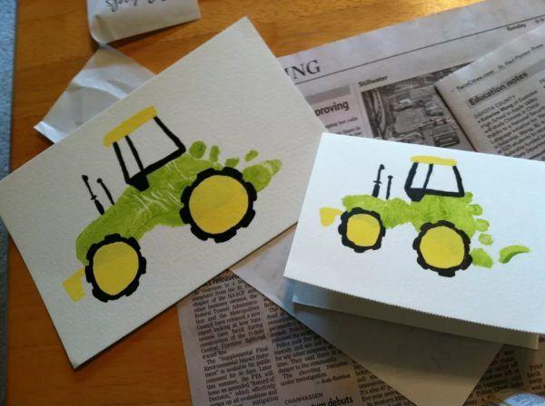 Regalos dia del padre tarjeta huella tractor