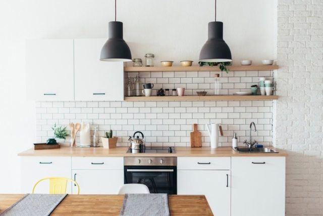 Cocinas modernas con ladrillo blanco 2019