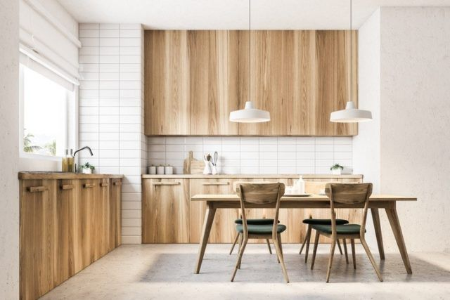 Cocinas modernas de madera con mesa 2019