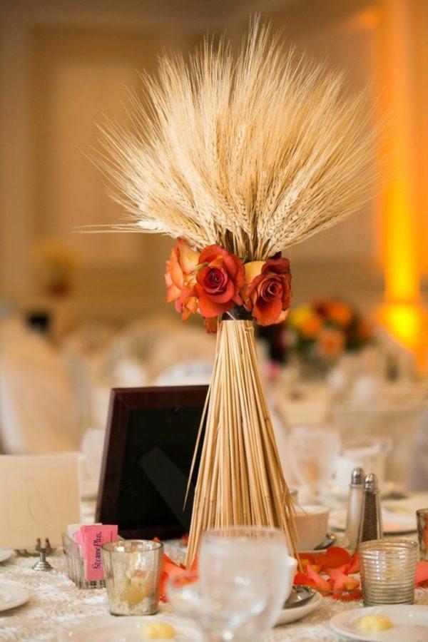 Centro de mesa para boda Centro de mesa espigas