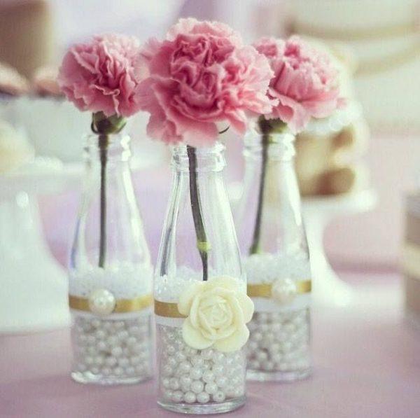 Centro de mesa para boda centro perlas raso