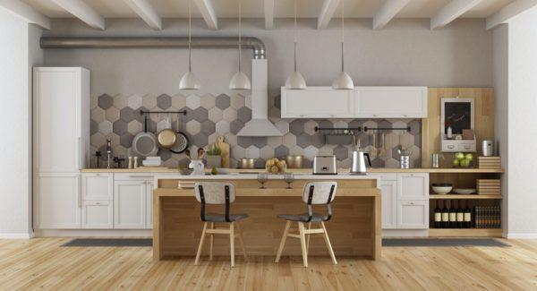 Cocinas rusticas armario blanco y madera