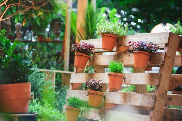 Muebles palet jardin vertical maceta