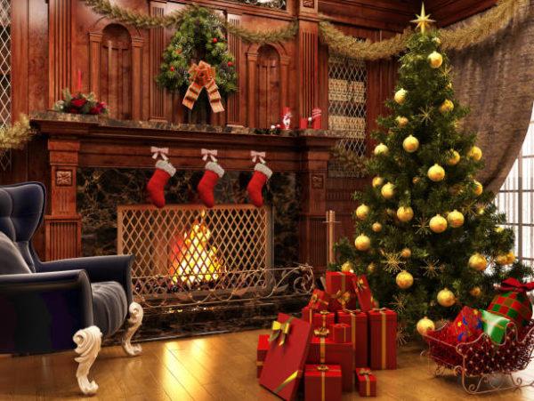 Arbol de navidad arbol con decoracion dorada
