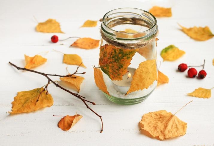 Decoracion con hojas secas navidad ecologica