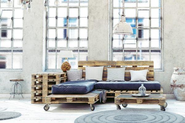 Ideas para hacer y decorar sillones de palets de madera azul