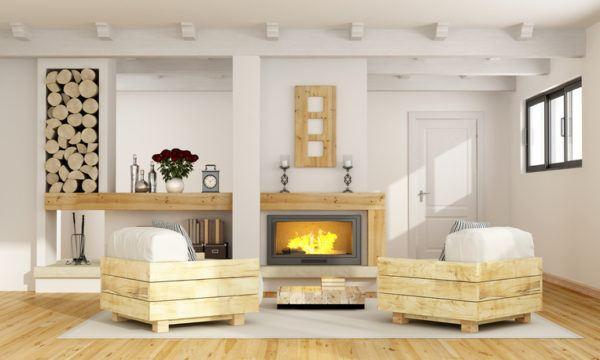 Ideas para hacer y decorar sillones de palets de madera salon chimenea