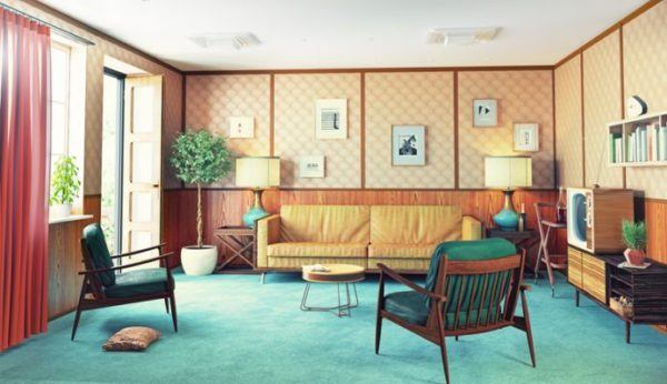 decorar-paredes-con-fotos-salon-retro-istock
