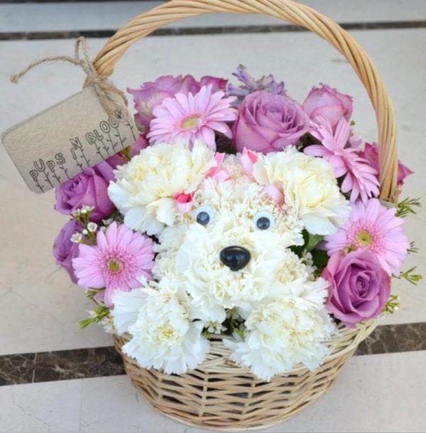 Como hacer arreglo floral FOTOS centro de mesa cesto muñeco flores
