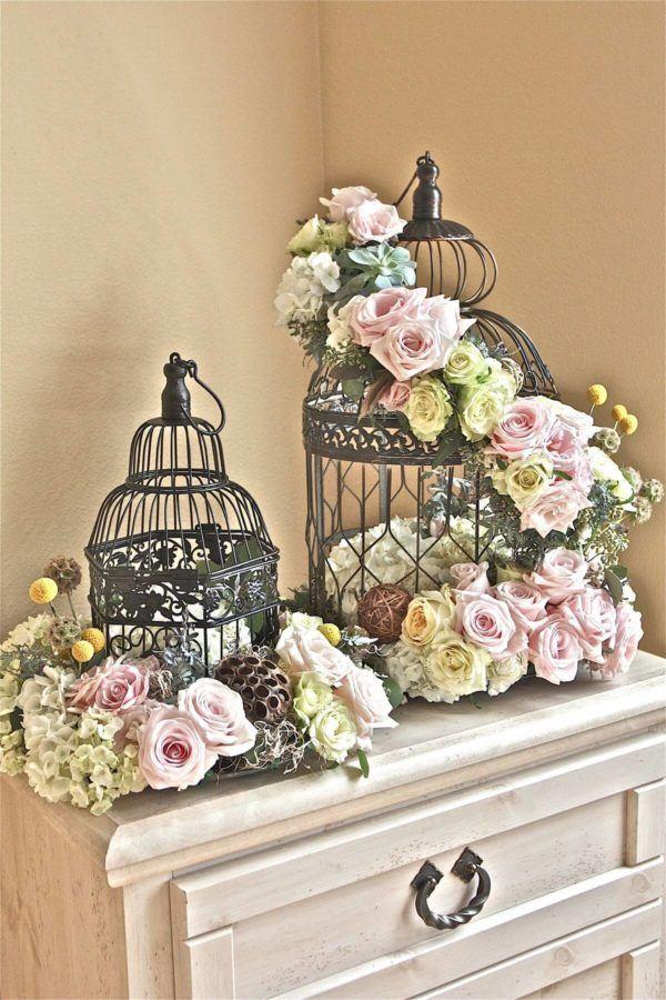 Como hacer arreglo floral FOTOS centro de mesa jaula