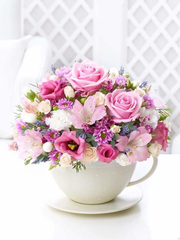 Como hacer arreglo floral FOTOS centro de mesa taza