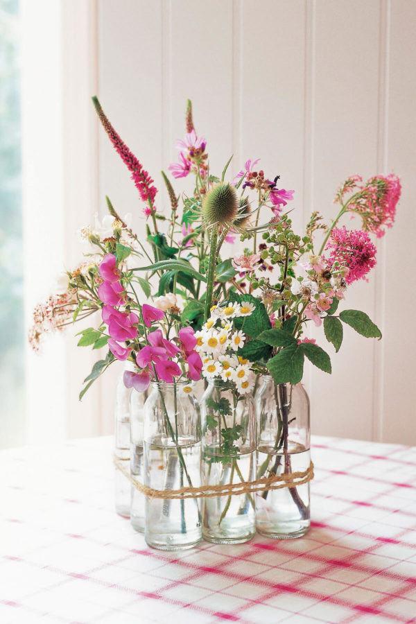 Como hacer arreglo floral centro mesa flores silvestres