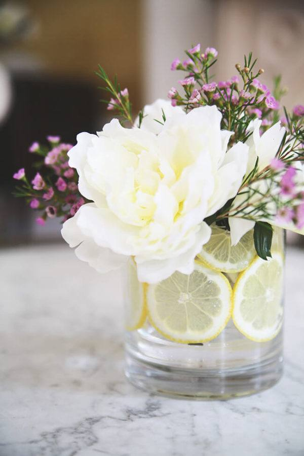 Como hacer arreglo floral centro mesa vaso limon