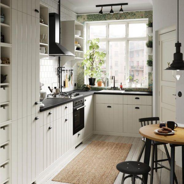 Cocinas integrales pequenas cocina blanca pequeña de estilo campestre de IKEA