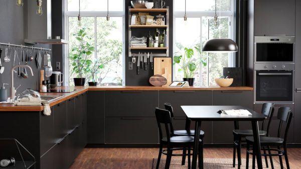 Cocinas integrales pequenas cocina negra de ikea