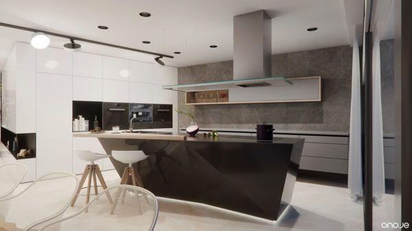 FOTOS de cocinas con isla central diseño angulo negro