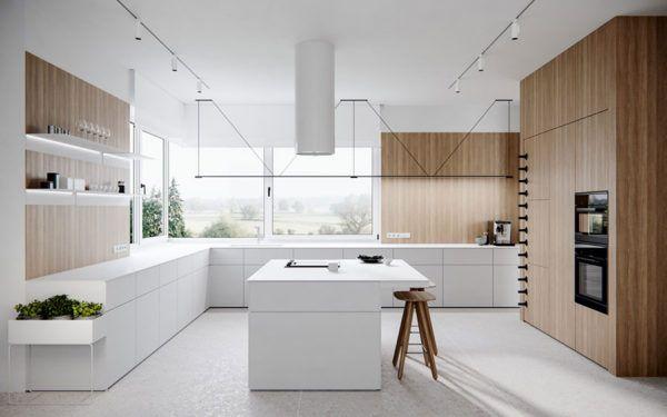 FOTOS de cocinas con isla central diseño blanca madera