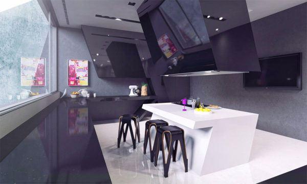 FOTOS de cocinas con isla central diseño blanco angulo