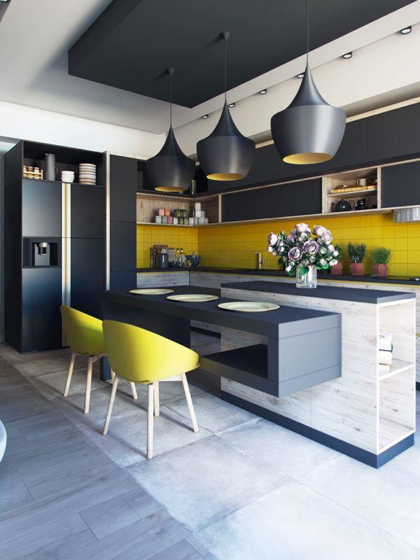 FOTOS de cocinas con isla central diseño con sillas