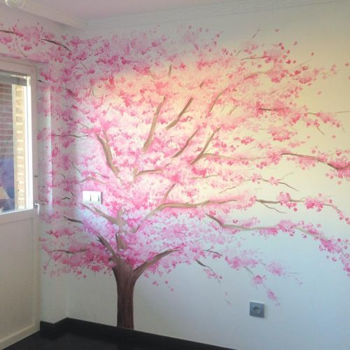como-decorar-una-pared-infantil-arbol-rosado-instagram-decopared