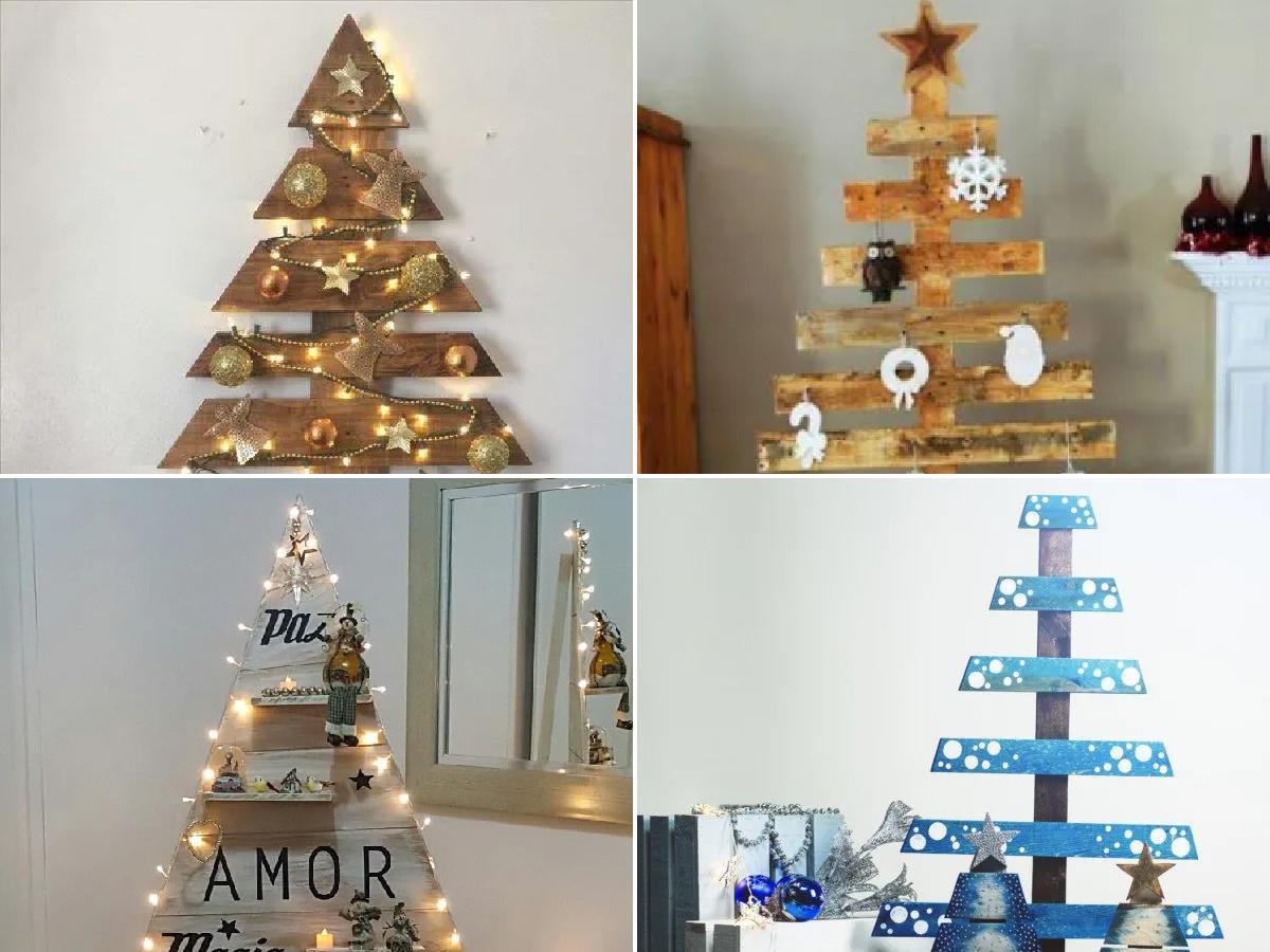 decorar árboles de Navidad de madera