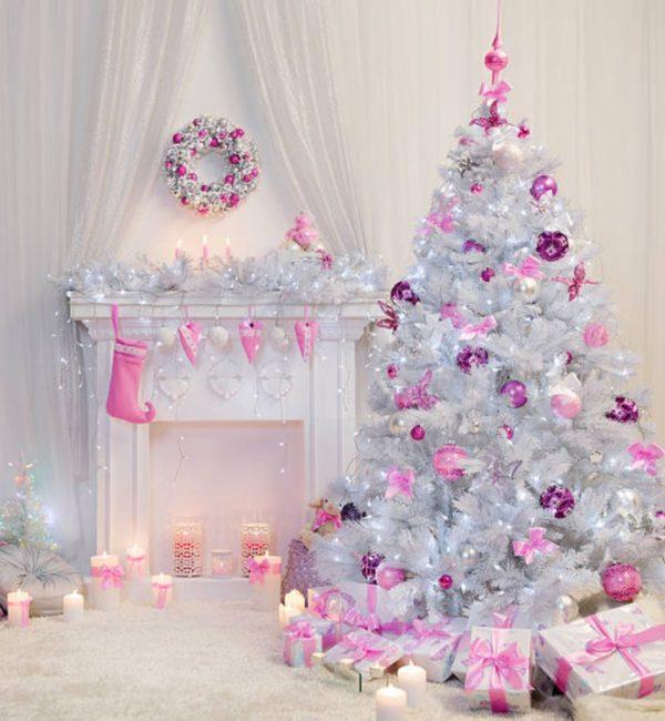 Arbol navidad decorado blanco rosa