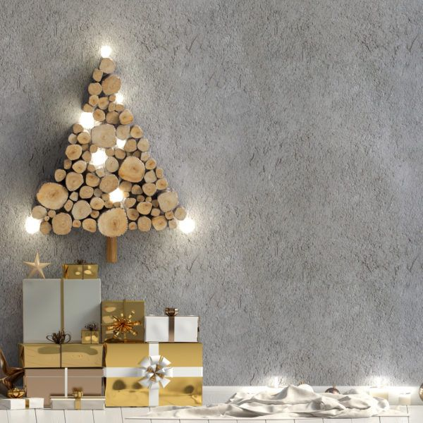 Arboles de navidad decorados 2020 2021 arbol troncos madera