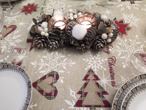 Centro de mesa navidad velas piñas