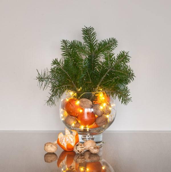 Centros de navidad low cost 2020 2021 centro luces pino mandarina nueces
