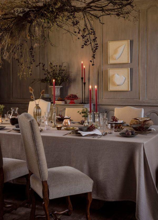 decoración mesa navidad mantel beige de zara home