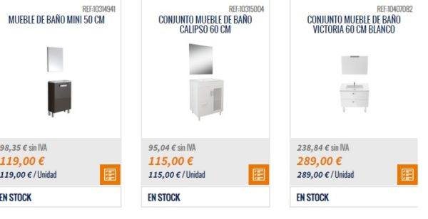 Catalogo BRICOMART cocinas 2021 mueble baño mini 50 60