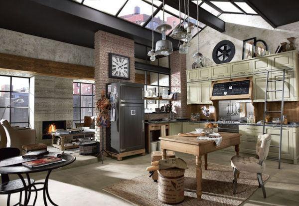 Cocina abierta de estilo industrial